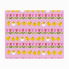 Easter   Chick And Tulips Small Glasses Cloth (2 Side) by Valentinaart