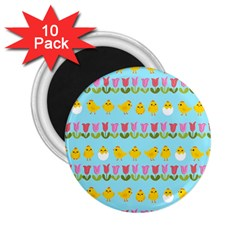Easter   Chick And Tulips 2 25  Magnets (10 Pack)  by Valentinaart