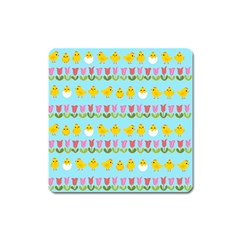 Easter   Chick And Tulips Square Magnet by Valentinaart