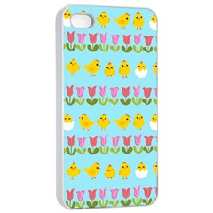 Easter   Chick And Tulips Apple Iphone 4/4s Seamless Case (white) by Valentinaart