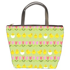 Easter   Chick And Tulips Bucket Bags by Valentinaart