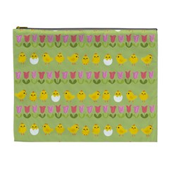 Easter   Chick And Tulips Cosmetic Bag (xl) by Valentinaart
