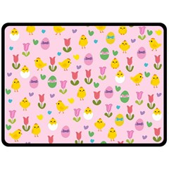 Easter   Chick And Tulips Fleece Blanket (large)  by Valentinaart