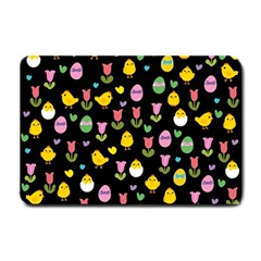 Easter   Chick And Tulips Small Doormat  by Valentinaart