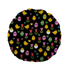 Easter   Chick And Tulips Standard 15  Premium Round Cushions by Valentinaart