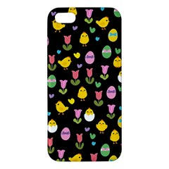 Easter   Chick And Tulips Apple Iphone 5 Premium Hardshell Case by Valentinaart