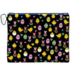 Easter   Chick And Tulips Canvas Cosmetic Bag (xxxl) by Valentinaart