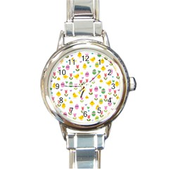 Easter - chick and tulips Round Italian Charm Watch by Valentinaart