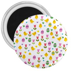 Easter   Chick And Tulips 3  Magnets by Valentinaart