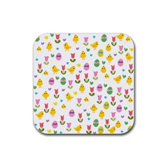 Easter   Chick And Tulips Rubber Square Coaster (4 Pack)  by Valentinaart