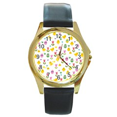 Easter - chick and tulips Round Gold Metal Watch by Valentinaart