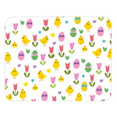 Easter   Chick And Tulips Double Sided Flano Blanket (large)  by Valentinaart