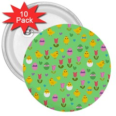 Easter   Chick And Tulips 3  Buttons (10 Pack)  by Valentinaart