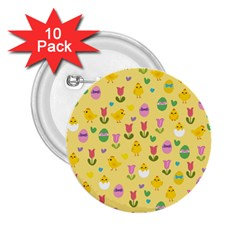 Easter   Chick And Tulips 2 25  Buttons (10 Pack)  by Valentinaart