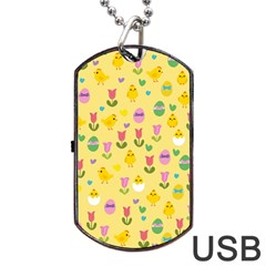Easter   Chick And Tulips Dog Tag Usb Flash (two Sides) by Valentinaart