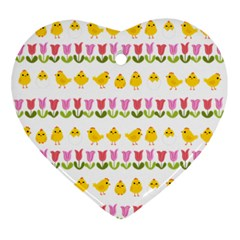 Easter   Chick And Tulips Ornament (heart) by Valentinaart