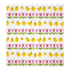 Easter   Chick And Tulips Shower Curtain 66  X 72  (large)  by Valentinaart
