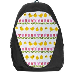 Easter   Chick And Tulips Backpack Bag by Valentinaart