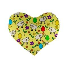 Easter Lamb Standard 16  Premium Heart Shape Cushions by Valentinaart