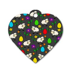 Easter Lamb Dog Tag Heart (one Side) by Valentinaart