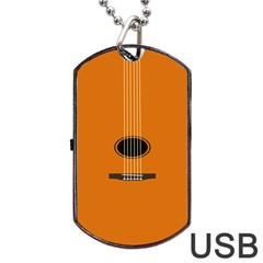 Minimalism Art Simple Guitar Dog Tag Usb Flash (two Sides) by Mariart