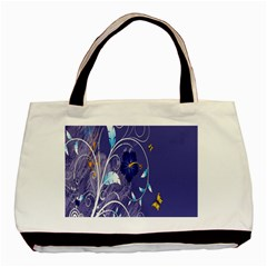 Flowers Butterflies Patterns Lines Purple Basic Tote Bag (two Sides) by Mariart