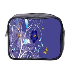 Flowers Butterflies Patterns Lines Purple Mini Toiletries Bag 2 Side by Mariart