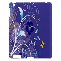 Flowers Butterflies Patterns Lines Purple Apple Ipad 3/4 Hardshell Case by Mariart