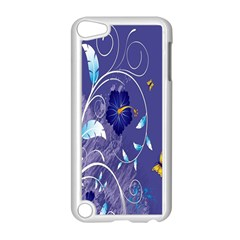 Flowers Butterflies Patterns Lines Purple Apple Ipod Touch 5 Case (white) by Mariart