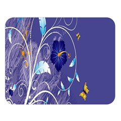 Flowers Butterflies Patterns Lines Purple Double Sided Flano Blanket (large)  by Mariart