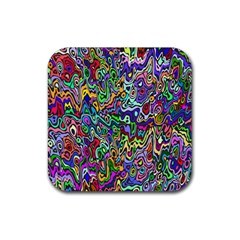 Colorful Abstract Paint Rainbow Rubber Square Coaster (4 Pack)  by Mariart