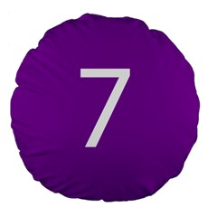 Number 7 Purple Large 18  Premium Flano Round Cushions by Mariart