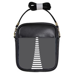 Minimalist Stairs White Grey Girls Sling Bags by Mariart