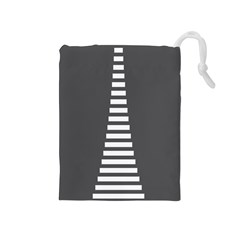Minimalist Stairs White Grey Drawstring Pouches (medium)  by Mariart