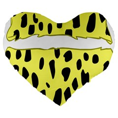 Leopard Polka Dot Yellow Black Large 19  Premium Flano Heart Shape Cushions by Mariart