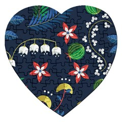 Origami Flower Floral Star Leaf Jigsaw Puzzle (heart) by Mariart