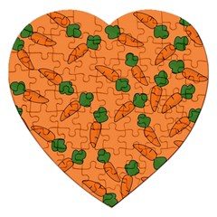 Carrot Pattern Jigsaw Puzzle (heart) by Valentinaart