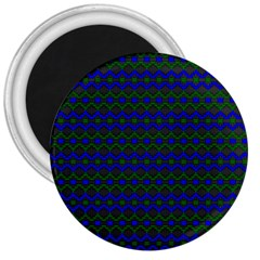 Split Diamond Blue Green Woven Fabric 3  Magnets by Mariart