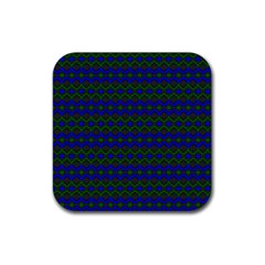 Split Diamond Blue Green Woven Fabric Rubber Coaster (square)  by Mariart