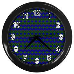 Split Diamond Blue Green Woven Fabric Wall Clocks (black) by Mariart