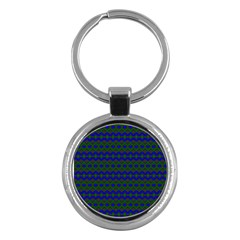Split Diamond Blue Green Woven Fabric Key Chains (round)  by Mariart