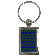 Split Diamond Blue Green Woven Fabric Key Chains (rectangle)  by Mariart