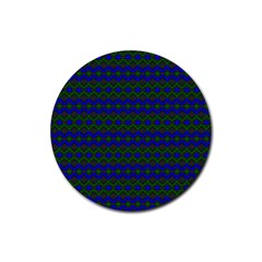 Split Diamond Blue Green Woven Fabric Rubber Round Coaster (4 Pack)  by Mariart