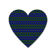 Split Diamond Blue Green Woven Fabric Heart Magnet by Mariart