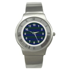 Split Diamond Blue Green Woven Fabric Stainless Steel Watch by Mariart