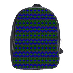 Split Diamond Blue Green Woven Fabric School Bags(large)  by Mariart