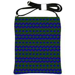 Split Diamond Blue Green Woven Fabric Shoulder Sling Bags by Mariart