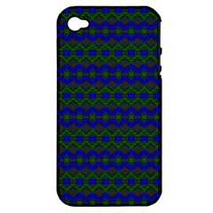 Split Diamond Blue Green Woven Fabric Apple Iphone 4/4s Hardshell Case (pc+silicone) by Mariart