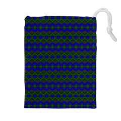 Split Diamond Blue Green Woven Fabric Drawstring Pouches (extra Large) by Mariart