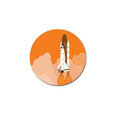 Rocket Space Ship Orange Golf Ball Marker by Mariart